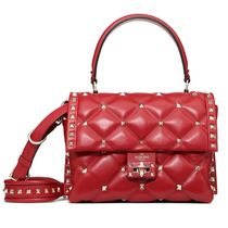 VALENTINO Lambskin Studded 2WAY Plain Leather Party Style Office Style