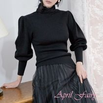 Puffed Sleeves Plain Elegant Style Turtlenecks