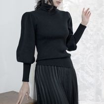 Plain Elegant Style Puff Sleeves Turtlenecks