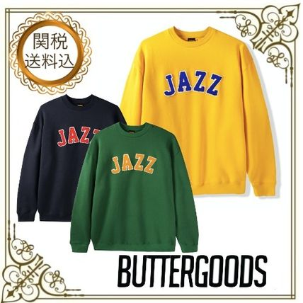 Crew Neck Pullovers Unisex Long Sleeves Plain Logo