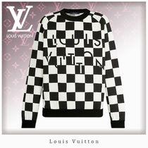 Louis Vuitton DAMIER Crew Neck Unisex Nylon Blended Fabrics Street Style Bi-color