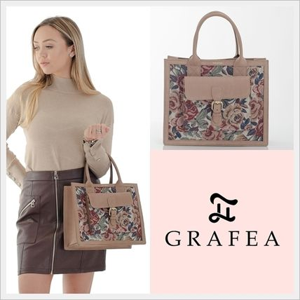Flower Patterns Casual Style Plain Leather Elegant Style