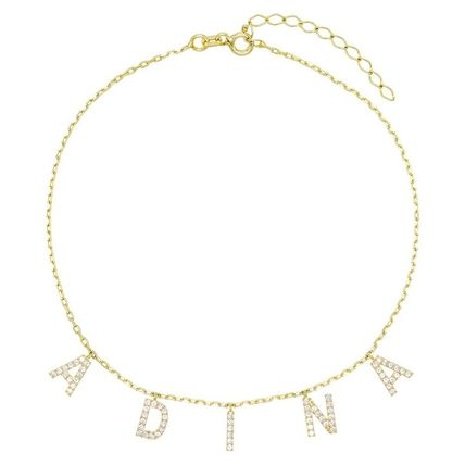 Costume Jewelry Initial Silver Anklets