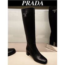 PRADA Plain Leather Mid Heel Boots
