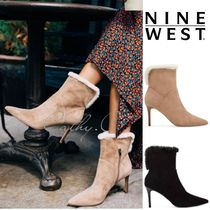 Nine West Casual Style Suede Faux Fur Blended Fabrics Plain Pin Heels