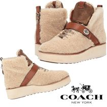 Coach Platform Round Toe Lace-up Casual Style Plain Lace-up Boots
