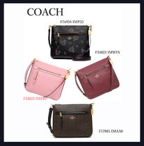 Coach Flower Patterns Casual Style Chain Plain Leather