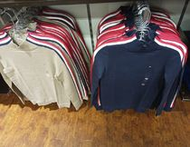 Tommy Hilfiger Casual Style Long Sleeves Plain Logo V-neck & Crew neck