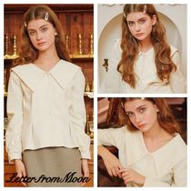 LETTER FROM MOON Casual Style Long Sleeves Plain Cotton Medium Office Style