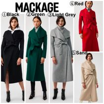 Mackage Casual Style Wool Plain Long Office Style Elegant Style