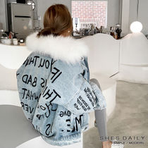 Casual Style Denim Fur Medium Jackets