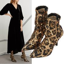 Dolce & Gabbana Leopard Patterns Casual Style Leather Pin Heels Party Style