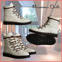 Massimo Dutti Mountain Boots Round Toe Lace-up Casual Style Plain Leather