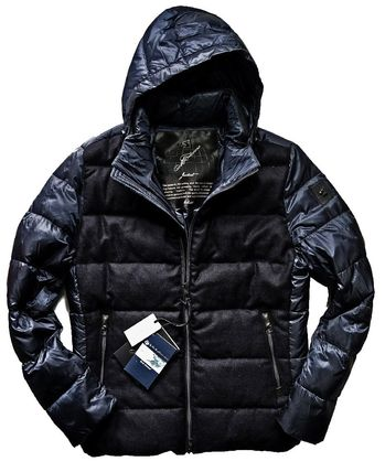 MONTECORE Short Wool Cashmere Blended Fabrics Leather Down Jackets