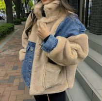 Casual Style Denim Faux Fur Blended Fabrics Street Style