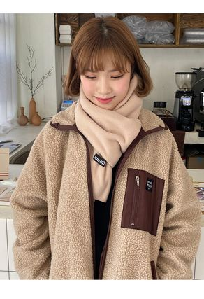Street Style Plain Cotton Logo Knit & Fur Scarves