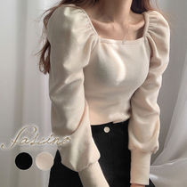 Casual Style Puffed Sleeves Boat Neck Long Sleeves Plain