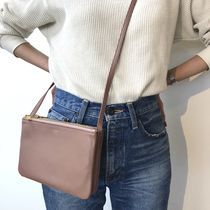 CELINE Trio Bag 2WAY Plain Leather Elegant Style Crossbody Shoulder Bags