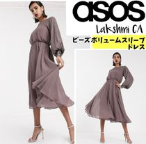 ASOS Crew Neck Stripes A-line Blended Fabrics Flared Long Sleeves