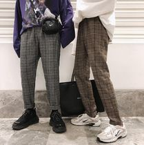 Slax Pants Other Check Patterns Unisex Street Style