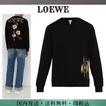 LOEWE Street Style Long Sleeves Plain Cotton Sweatshirts