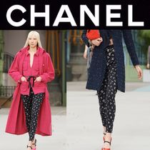 CHANEL ICON Monogram Casual Style Blended Fabrics Street Style Long