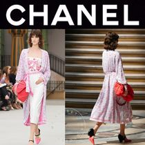 CHANEL ICON Monogram Casual Style Street Style Long Sleeves Long
