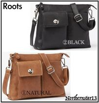 Roots Casual Style Unisex Plain Leather Shoulder Bags