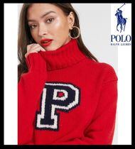 POLO RALPH LAUREN Cable Knit Casual Style High-Neck Oversized Knitwear