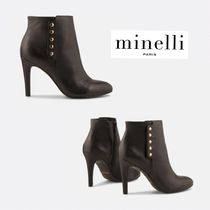 minelli Plain Leather Pin Heels Elegant Style Ankle & Booties Boots