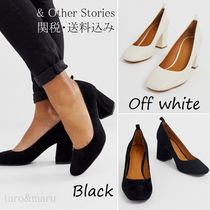 & Other Stories Round Toe Casual Style Plain Leather Block Heels