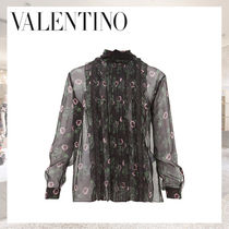VALENTINO Flower Patterns Silk Long Sleeves Elegant Style