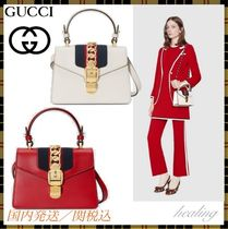 GUCCI Sylvie 2WAY Plain Leather Party Style Elegant Style Shoulder Bags