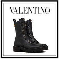 VALENTINO Casual Style Studded Plain Wedge Boots