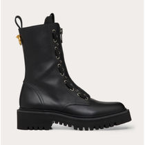 VALENTINO Casual Style Studded Plain Logo Wedge Boots