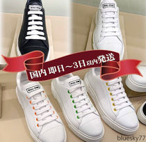 MiuMiu Casual Style Unisex Plain Leather Logo Low-Top Sneakers