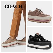 Coach Platform Plain Toe Round Toe Rubber Sole Casual Style Suede