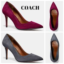 Coach Suede Plain Pin Heels Party Style Office Style Elegant Style