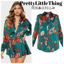 PrettyLittleThing Flower Patterns Long Sleeves Long Party Style Oversized