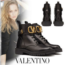VALENTINO Platform Casual Style Plain Leather Ankle & Booties Boots
