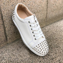 Christian Louboutin Studded Street Style Plain Leather Sneakers
