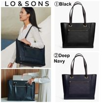 Lo & Sons Casual Style A4 Plain Leather Office Style Totes