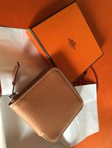 HERMES Silk In Leather Coin Cases