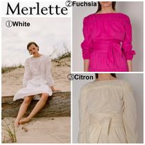 merlette Casual Style Cropped Plain Cotton Medium Short Sleeves