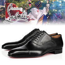 Christian Louboutin Straight Tip Street Style Plain Leather Oxfords