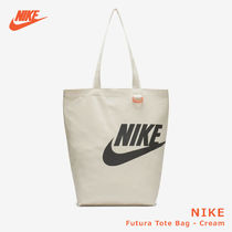 Nike Casual Style Unisex Canvas Street Style A4 Plain Logo Totes