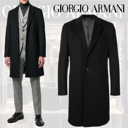 Wool Cashmere Street Style Plain Long Coats