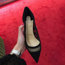 Christian Louboutin Plain Pin Heels Elegant Style Pointed Toe Pumps & Mules