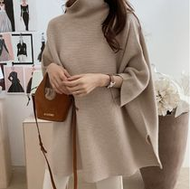 Cable Knit Lace-up Casual Style Wool U-Neck Long Sleeves