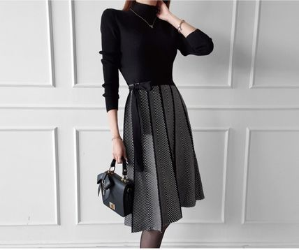 Casual Style A-line Flared Long Sleeves Medium Long